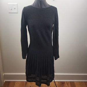 Long sleeve flared grey sweater dress